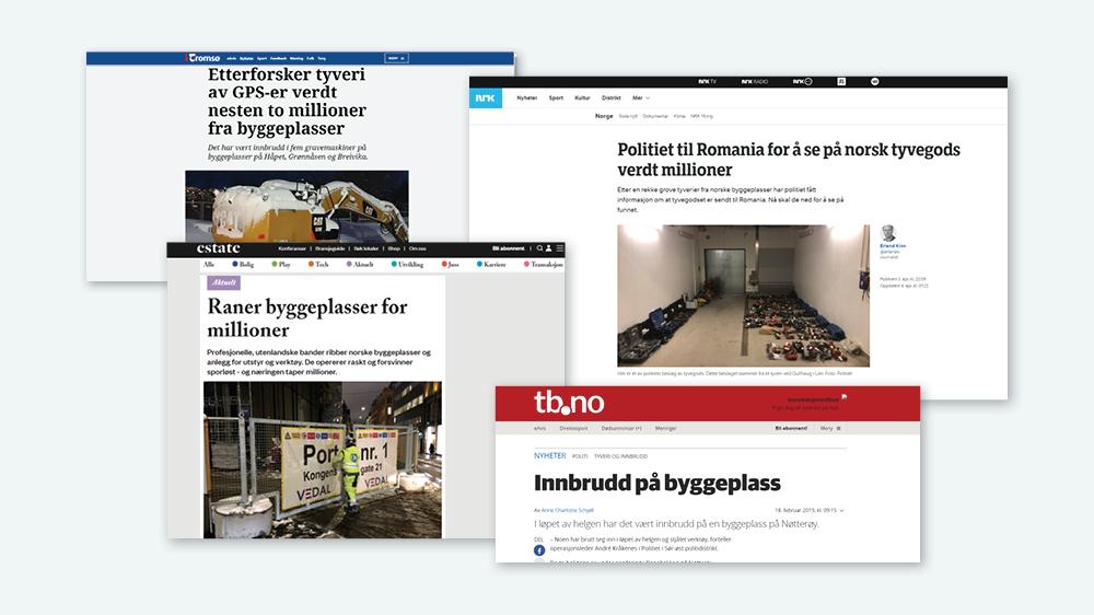 Bildecollage av avisoverskrifter om tyveri fra byggeplass som illustrasjon på behovet for midlertidig adgangskontroll i byggeperioden.